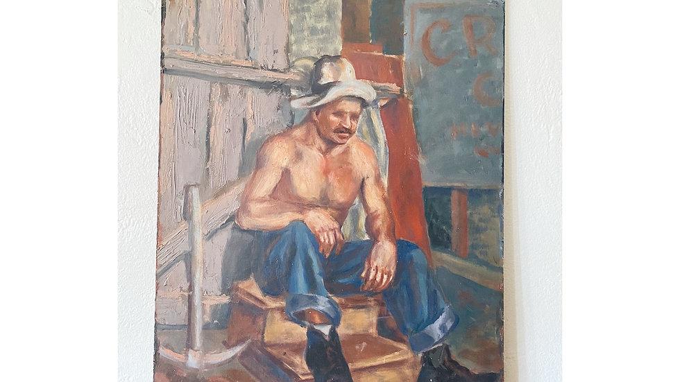 Vintage male miner oil painting