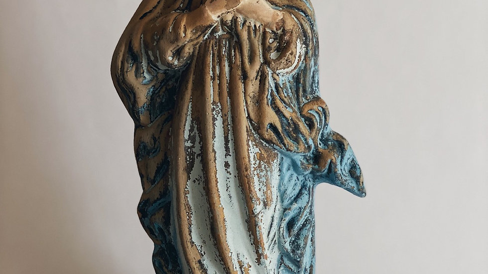 Vintage cement virgin Mary statue