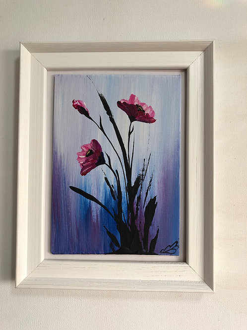 Sold/Pink Poppies in a frame