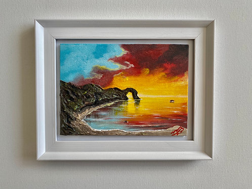 Sold/Durdle Door Sunset in a Frame- 5'x7' canvas