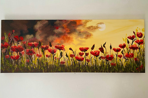 Sold/Red Poppies by a Full Moon. 80x30 cm