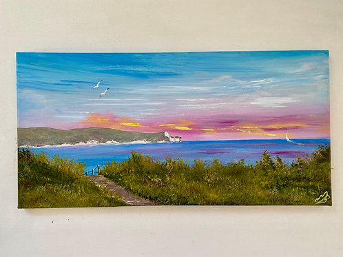 """Isle of Wight on a Panoramic Canvas. 20""""x10"""""""