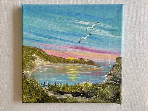 Memories of Lulworth Cove 20 x 20