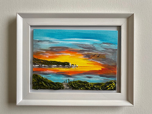 Sold/Sunrise over The Needles. Canvas 7'x5'