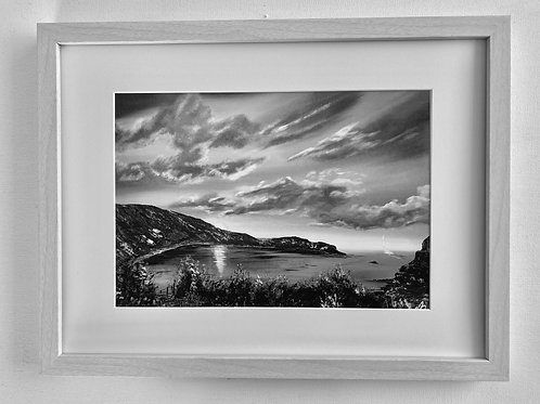 Print of Lulworth Cove in Sepia