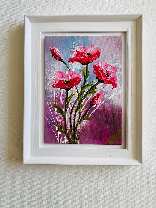 """Sold/Textured Pink Poppies Canvas 5""""x7"""""""