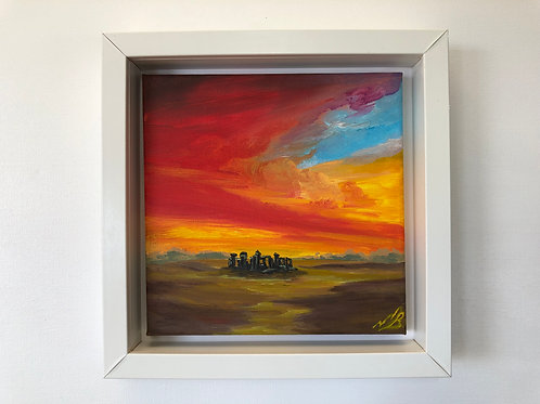 Sunrise over Stone Henge in a White Frame
