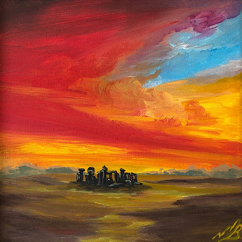 Sold/Sunrise over Stone Henge in a White Frame