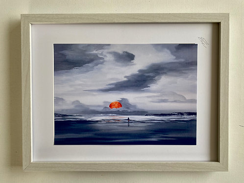 Framed Print from a Red Moon on the Beach