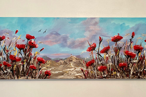 Red Poppies under a Bright Blue Sky. 80x30cm