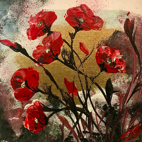Abstract Poppies on Gold Leaf. 8'x8' canvas