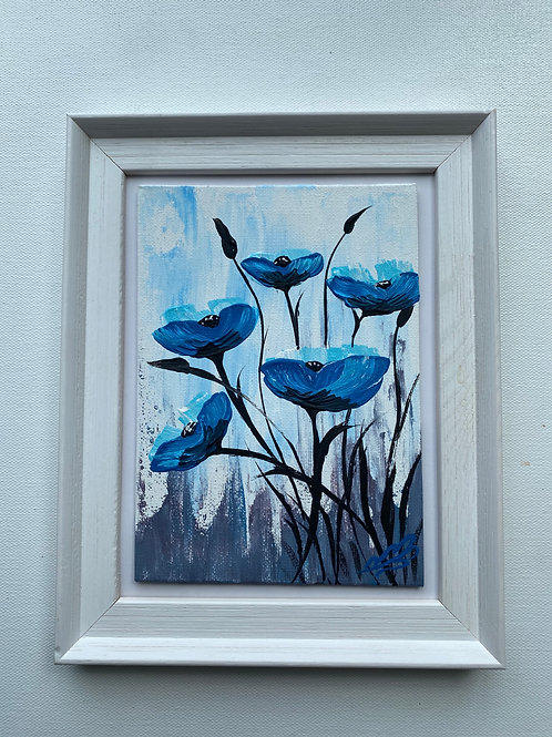Sold/Blue poppies in a Frame. 5'x7' canvas