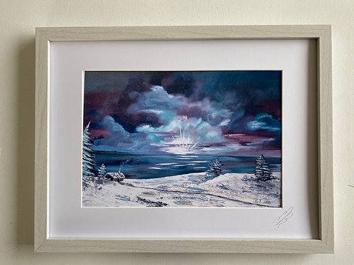 Framed Print of Cottage in the Snow