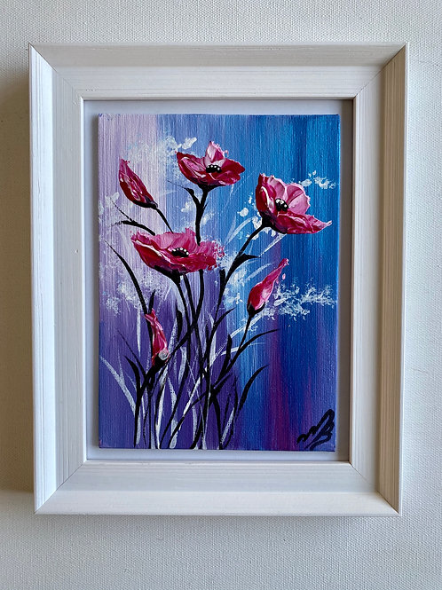 Pink Textured Poppies 19x24 cm