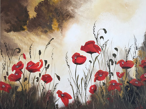 Print of Poppies under a Stormy Sky