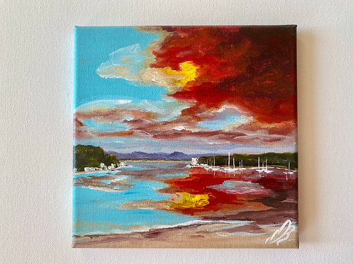 Poole Harbour Stormy Sunset - 8'x8'