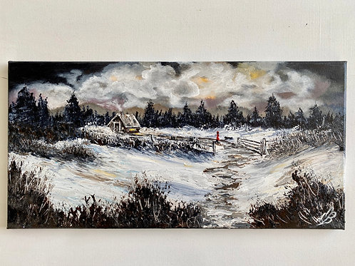 Sold/Walking my Dog in the Snow. 51x25cmWalking