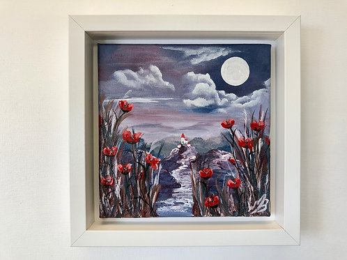Sold/Red Poppies under a Full Moon