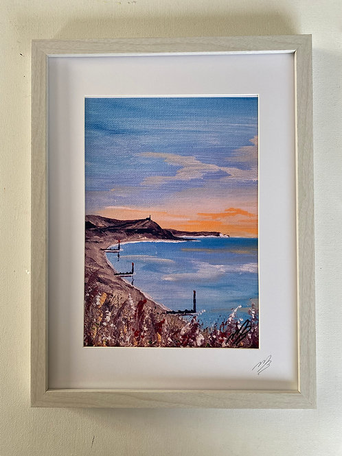 Print of Hengistbury Head orange sunset in a Frame