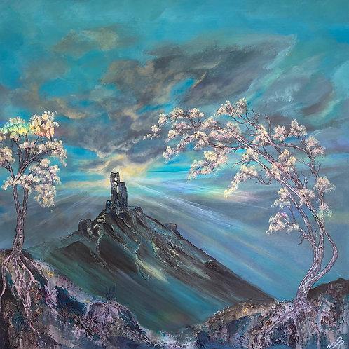 Corfe Castle in Bloom. 90x90 cm