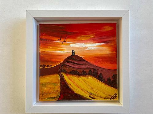 Red Sky over Glastonbury Tor 25x25 cm