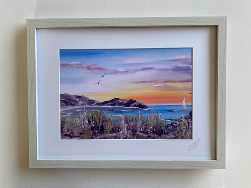 Framed Print of Lulworth Cove Orange Sunrise