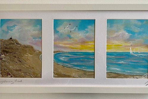 Framed Triptych of Hengistbury Head - 53x26x3.5 cm