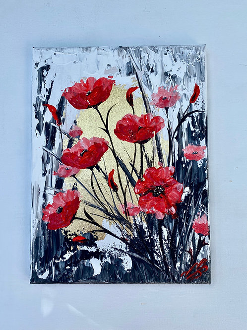 Abstract Textured Poppies on Gold Leaf. 9'x12'