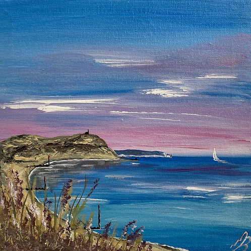 Sold/Hengistbury Head and the Isle of Wight under a Pink Sunrise