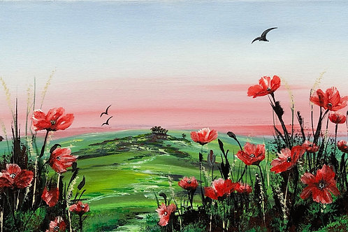 Print of Red Poppies in a green field