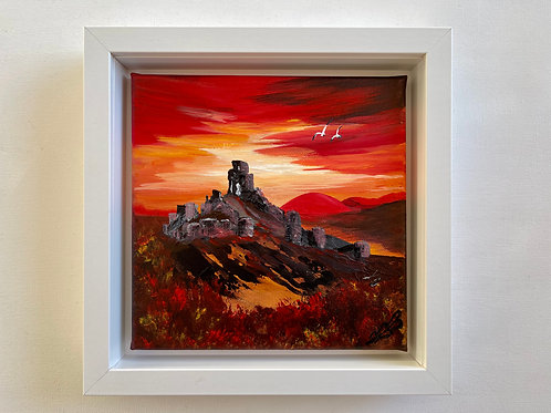 Red Sunset over Corfe Castle 25x25 cm