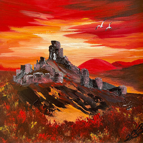 Print of Red Sunset over Corfe Castle 20x20 cm