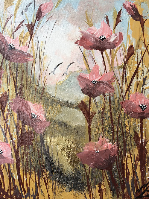 Print of Pink poppies on gold leaf