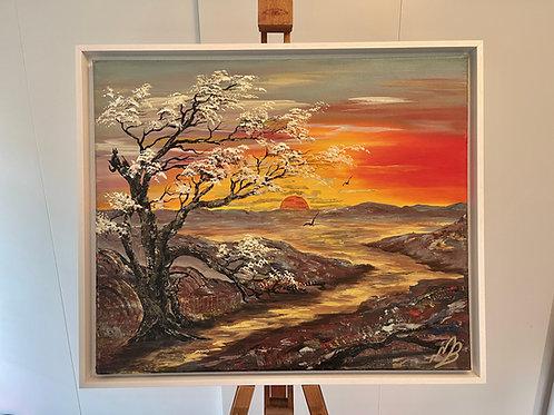 New Forest Sunrise-Framed 64x54x4cm