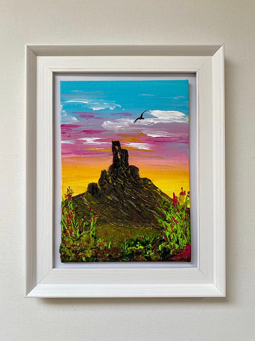 """Sold/Red Sunset over Corfe Castle. Canvas 5""""x7"""""""