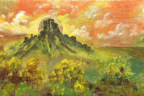 Corfe Castle on large Panoramic canvas on Gold leaf 120x40 cm