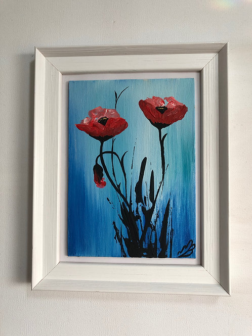 Sold/Red Poppies in a frame