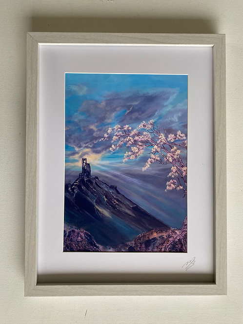 Print of Corfe Castle in Bloom A4