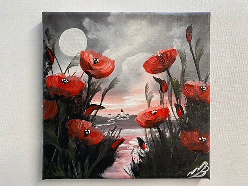 Sold/Path through the poppy field to the village. 8'x8'
