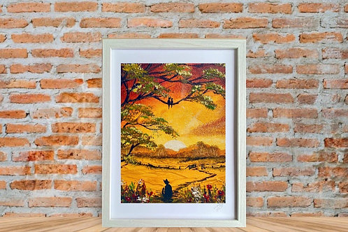 Print of Cat at Sunset in a Frame