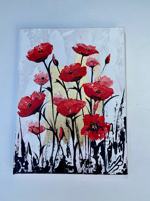 Gold Leaf Painting of Abstract Red Poppies. 9'x12'