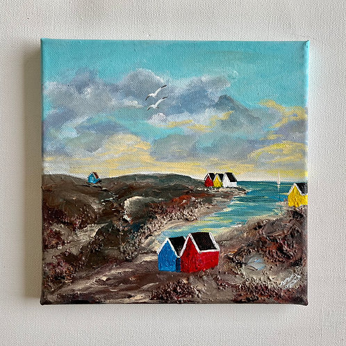 Beach Huts in a Cove 20x20cm
