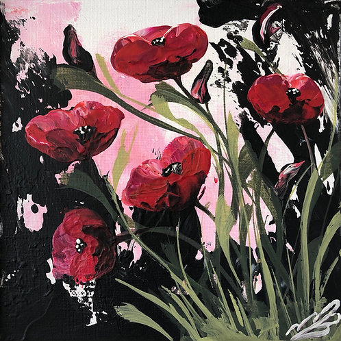 Print of Red Poppies and Green Leaves