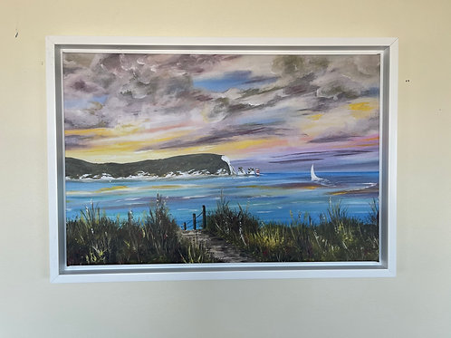 Framed Canvas Print of The Needles from Barton on Sea