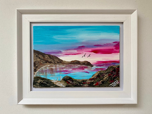 "Red Sunrise over Lulworth Cove Canvas 5""x7"""