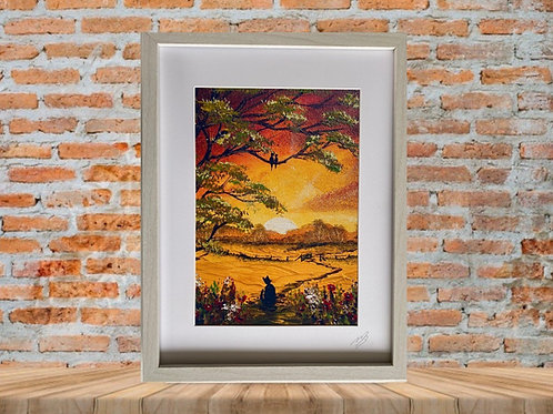 Framed Print of Cat at Sunset
