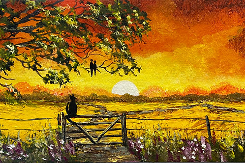 Print of Cat on the Gate at Sunset. 29x11 cm