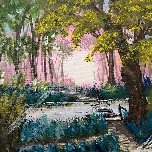 Sold/Blue Bells by the Stream. 8'x8' Canvas