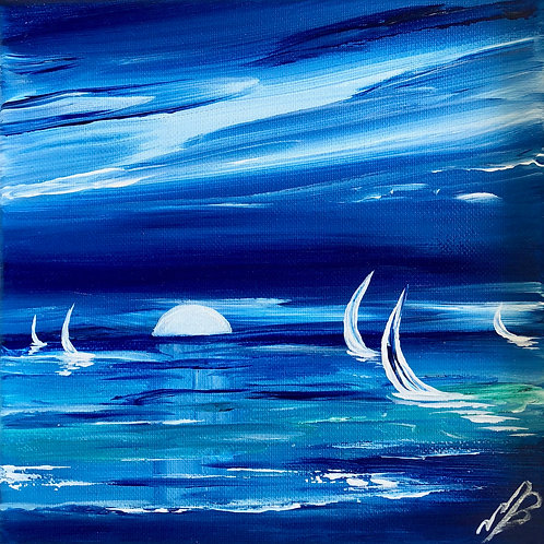 Sold/Study in blue. Full moon rising