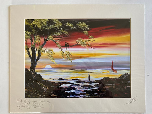 Large Print of Lovebirds in a Tree by Sunset